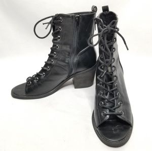 Forever 21 Lace Up Open Toe Heeled Boots
